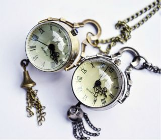 Transparent Ball Bell Hanging Ear Jewelry Pocket Watch Necklace
