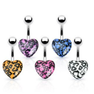 Print Heart Navel Belly Ring Button Piercing Jewelry B622