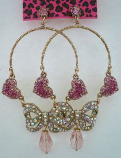 Betsey Johnson Iconic Perfectly Pave Pink Heart Bow Big Girly Earrings