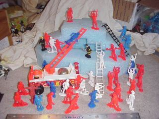 Big Lot Toy firemen Fire Truck Ladders etc Tim Mee MPC Remco Other