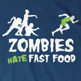 Zombies Hate Fast Food T Shirt Zombie Horror Funny Undead Monster Size