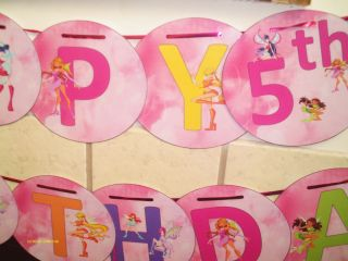 Winx Club Happy Birthday Party and or Personalized Name Banner