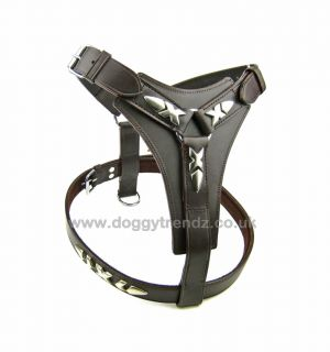 Large Brown Real Leather Dog Harness Terrier Rottweiler Pitbull Boxer