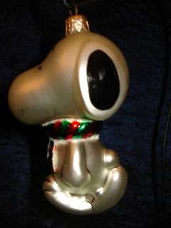 LARGE KURT ADLER POLONAISE SNOOPY PEANUTS CHRISTMAS BLOWN GLASS