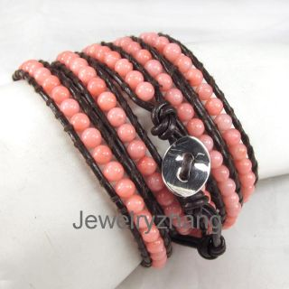 Pink coral beads on brown leather 5 wrap bracelet handmade A04