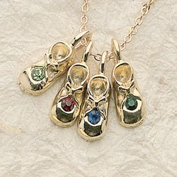 Birthstone Booties Charms Swarovski Crystal 14kt Gold P