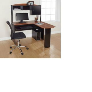 Shaped Desk Hutch Computer Office Black Cherry Wood Finish