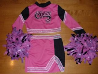 Girls Pink CHEERLEADER Costume Dress up Size 4/6 10/12 NWT