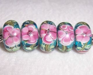 Green Leaves Pink Flower Murano Glass Beads Fit European Charm