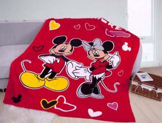Mickey and Minnie Mouse Red Mink Blanket Quilt Bed Sheet Queen Size