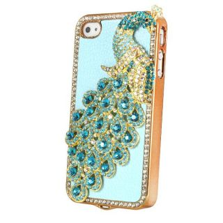 Leather Peacock Rainstone Bling Case Cover Skin for Apple iPhone 4 4S