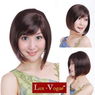 Brown Short Bob Hand Made Wigs Hair perruque 74 33 T