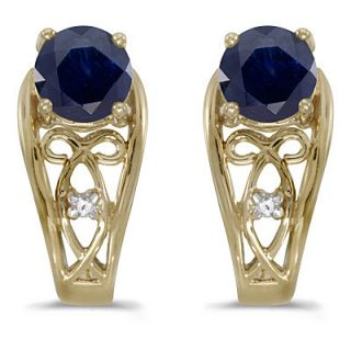 20ct Blue Sapphire Diamond Earrings 14k Yellow Gold