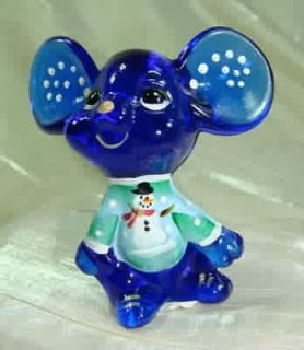 Fenton 3 inch Christmas Mouse Chum Hand Painted Cobalt Blue Glass