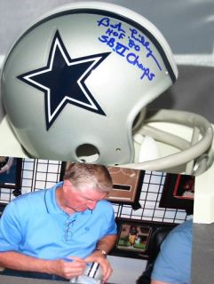 BOB LILLY AUTO MINI HELMET DALLAS COWBOYS HOF 80 SUPER BOWL VI CHAMPS