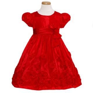 Bonnie Jean Toddler Girls Size 3T Red Taffeta Bow Christmas Dress