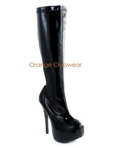 Bordello Womens Black Knee High Platform Sexy High Heels Stripper