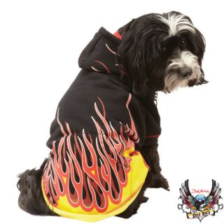 NEW BRET MICHAELS Pets Rock Rocker Dog Puppy Jacket Flames Hoodie