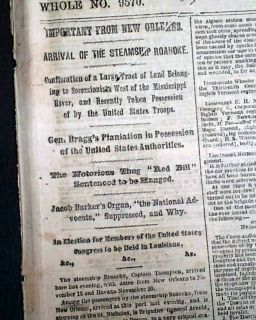 1862 Old Civil War Newspaper Braxton Braggs Plantation Captured Cove