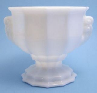 Brody White Milk Glass Footed Handled Paneled Vase Planter