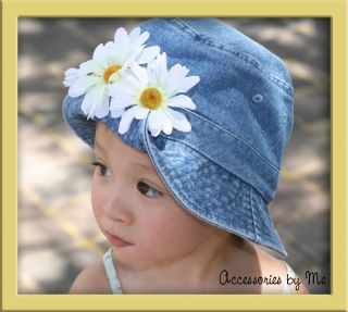 Baby Girls Sun Hat Denim Bucket Daisy Flowers 6M 3 Yr