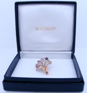 Designer Buccellati 18K Yellow Gold Diamond Ruby Pin