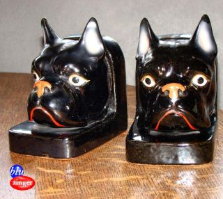 Vintage Wales Japan Ceramic Pit Bull Terrier Dog Bookends