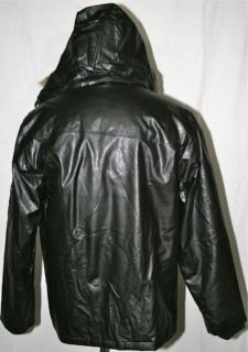 NEW Mens Circa LEATHER PARKA Hooded Jacket   Large   Black   C1RCA