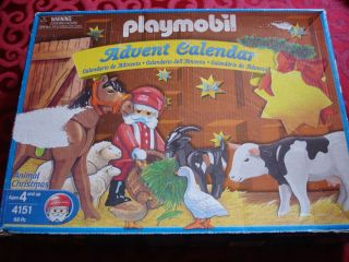 PLAYMOBIL ADVENT CALENDAR 4151 ANIMAL CHRISTMAS RARE RETIRED USED