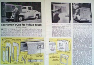 1958 Pickup Truck camper Cab Shell How to Build Article Plans