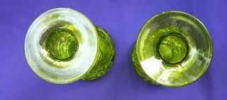 Vintage Rainbow GREEN Crackle Glass Candle Holders w Stickers