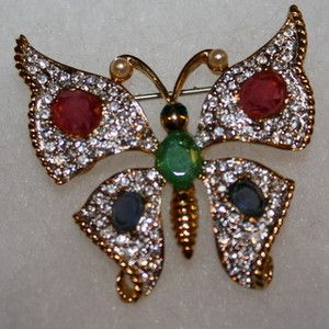 Carolee 40th Anniversary Pave Crystal Rhinestone Butterfly Brooch Pin
