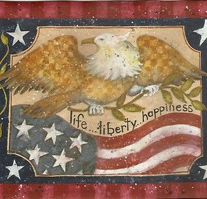 Americana Eagle American Flag Star Wallpaper Border