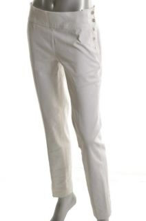 New White Stretch Twill Flat Front Side Button Casual Pants 14