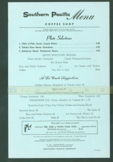 Southern Pacific Coffee Shop A La Carte Menu 1967 C 07