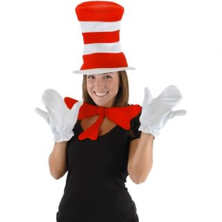 Dr Seuss Cat in The Hat Adult Costume Kit Hat Bow Tie White Gloves