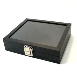 Glass Topped Jewelry Display Case Box 1 2 Size Black