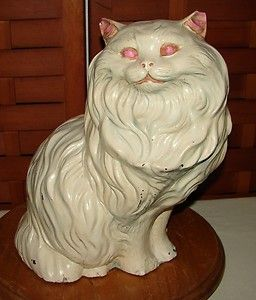 Vintage Sitting White Persian Cat Decor Statue