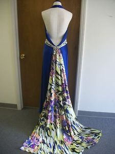 Cassandra Stone Blue Formal Gown Train Dress 12