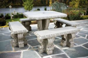 82 Square Egg Dart Table Set Outdoor Cement Furniture
