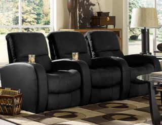 Seatcraft Catalina Home Theater Seating 3 Seats Manual Black on Black