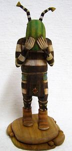 in Face Clown Katsina Kachina Doll Sculpture by Cecil Miles