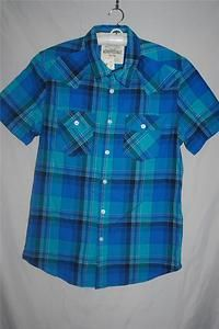 NEW Mens Casual Shirt AEROPOSTALE Size M Button Front Blue Plaid NWT