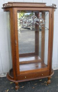 flat door oak china cabinet with leaded glass door and drawer