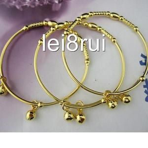 18k yellow gold filled bangle childrens bracelet 2 bells GF jewelry