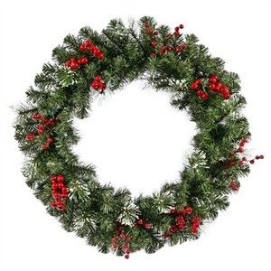 Pine with Holly Berries 36 Unlit Artificial Christmas Wreath