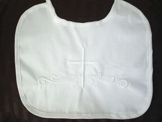 Baby Boys Christening Baptism Bib w Embroidered Cross