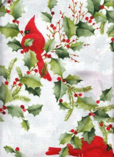 Christmas Red Cardinal Holly White Green Textured Polyester Fabric