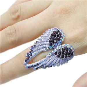 Angel Wing Stretch Ring Sz Free Purple Swarovski Crystal 10 Items Free