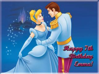 Cinderella Edible Cake Icing Image Topper Birthday